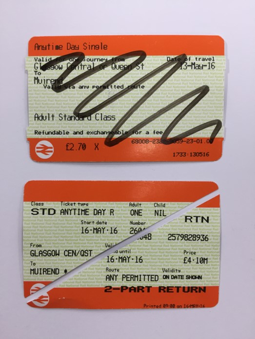 Defaced ticket example