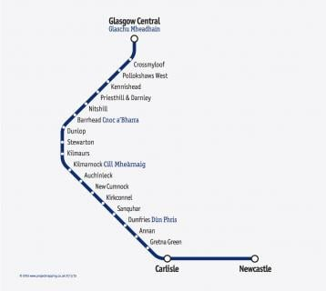 Great Scenic Rail Journeys route map for Glasgow - Kilmarnock - Carlisle line