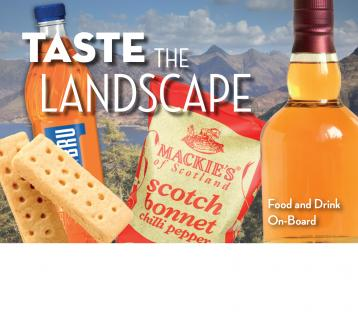 Taste the Landscape food and drink on-board menu