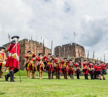 Re-enactment in front of Carlisle Castle