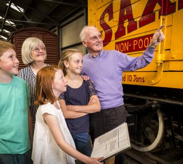 Family visiting the Museum of Scottish Railways