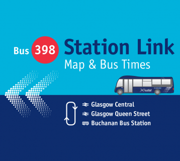 Bus 398 Station Link map and timetable cover