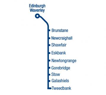 Great Scenic Rail Journeys route map from Edinburgh Waverley to Tweedbank