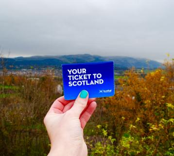 Holding the Your Ticket to Scotland ticket wallet