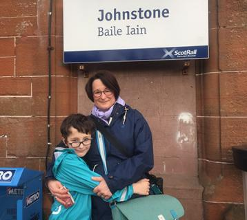 Ellen Arnison and son at Johnstone station