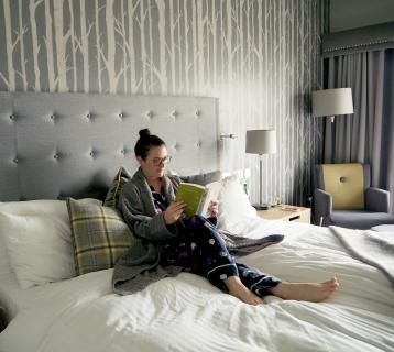 Elle croft relaxing in her room at Auchrannie Spa Resort