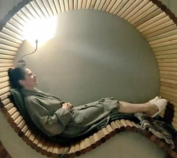 Elle relaxing in a pod chair at ASPA