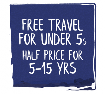 Free travel for under 5s half price for 5-15 years