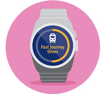 Watch illustration saying fast journey times