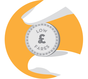Coin illustration - low £ fares