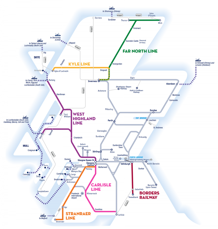 Great Scenic Rail Journeys of Scotland route map