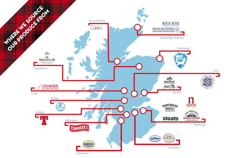 Where we source our produce from - map of Scotland showing our Scottish suppliers and importers