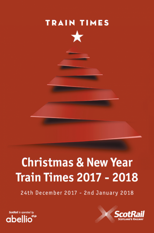 Christmas and new year train times timetable cover