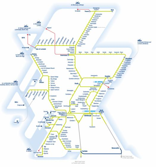 ScotRail Smartcard-enabled route map of Scotland
