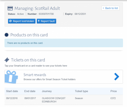 Smart rewards banner on the My ScotRail card details screen