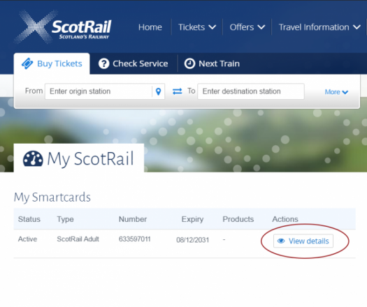 Click View details on your My ScotRail dashboard