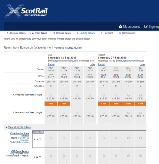 Booking engine showing Club 50 Flat Fare in tickets matrix