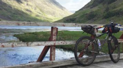 Bicycle parked in Highland landscape