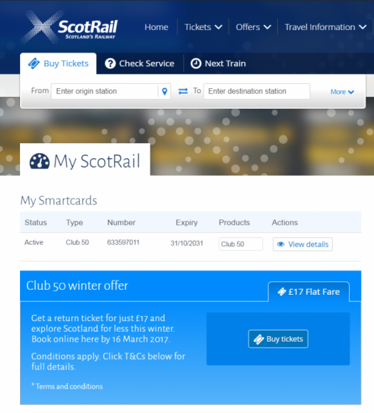 My ScotRail account dashboard showing £17 Club 50 flat fare offer