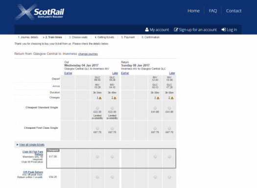 ScotRail ticket booking engine showing £17 Club 50 flat fare return ticket