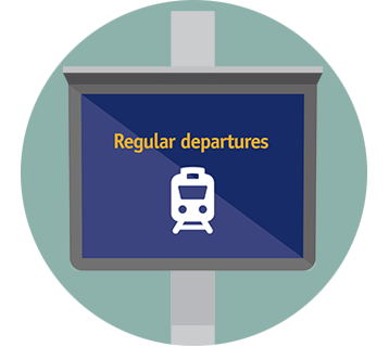 Illustration of train departure board saying