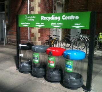 Helensburgh station recycling bins
