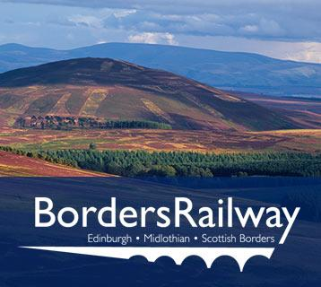 Borders Railway logo and landscape