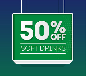 50% off soft drinks