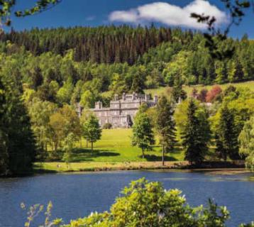 View across the lake to Bowhill House