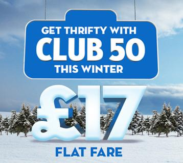Get thrifty with Club 50 £17 flat fare return ticket offer