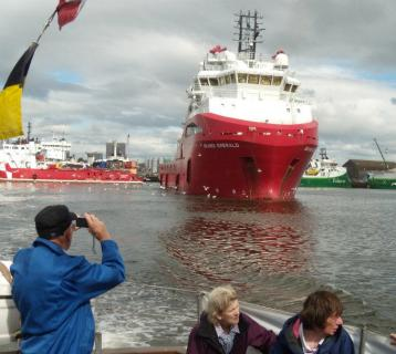 Visitors on a cruise around Aberdeen Harbour
