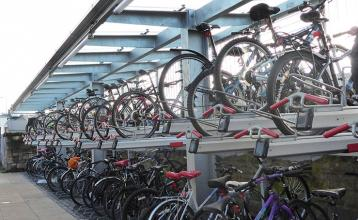 Falco two-tier cycle racks at Haymarket station