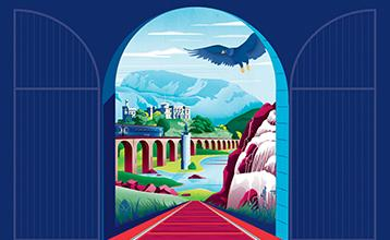Train, castle and bridge illustration