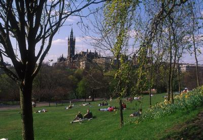 View of Glasgow University from Kelvingrove Park