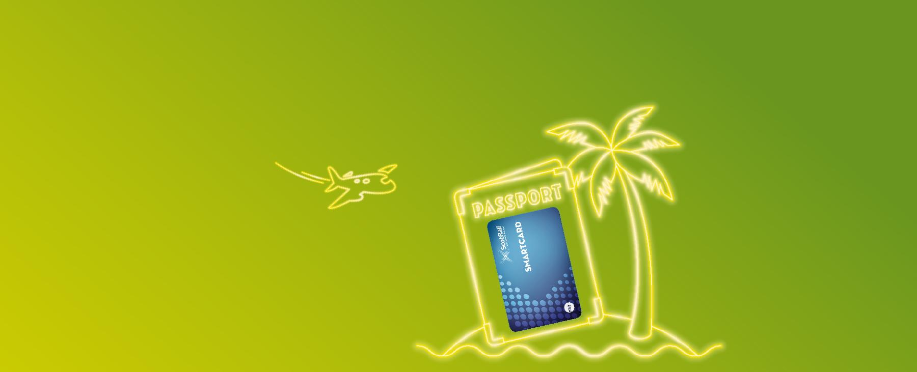 Smartcard Dubai competition image - plane, passport and palm tree