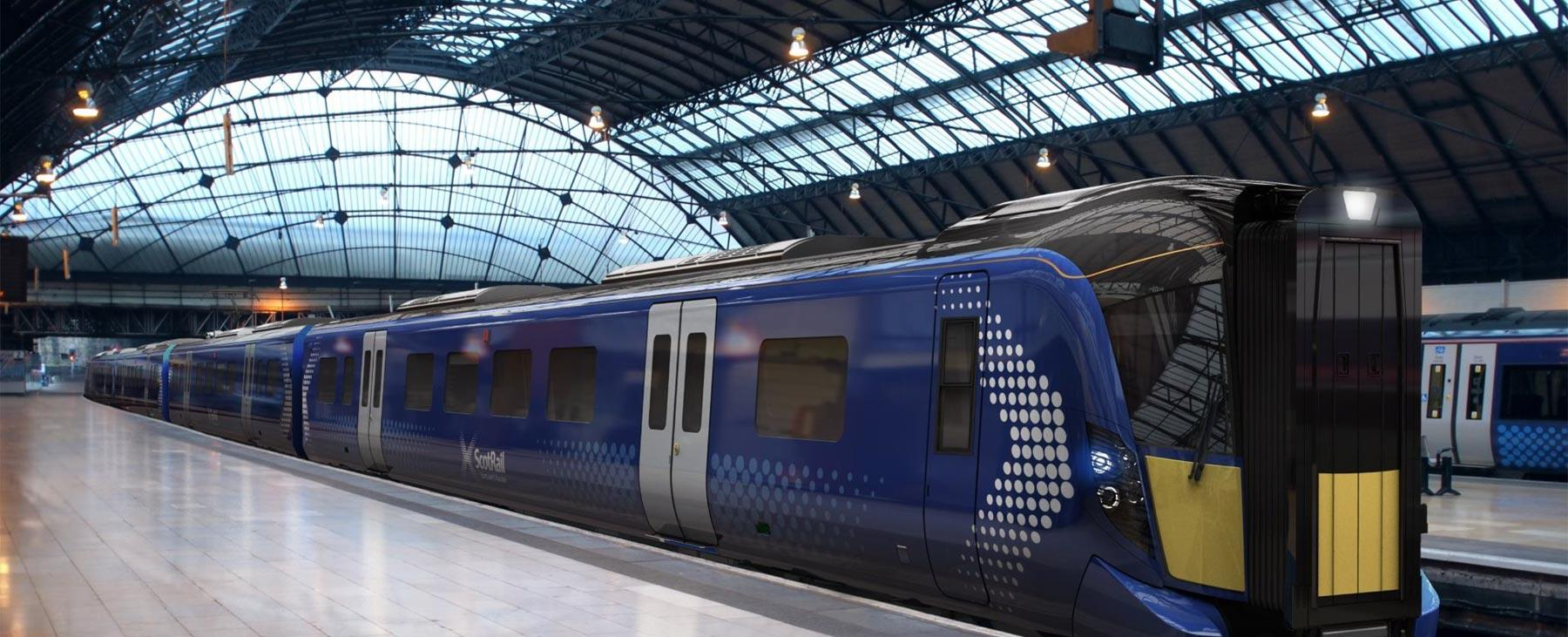 Hitachi train at Glasgow Queen Street station