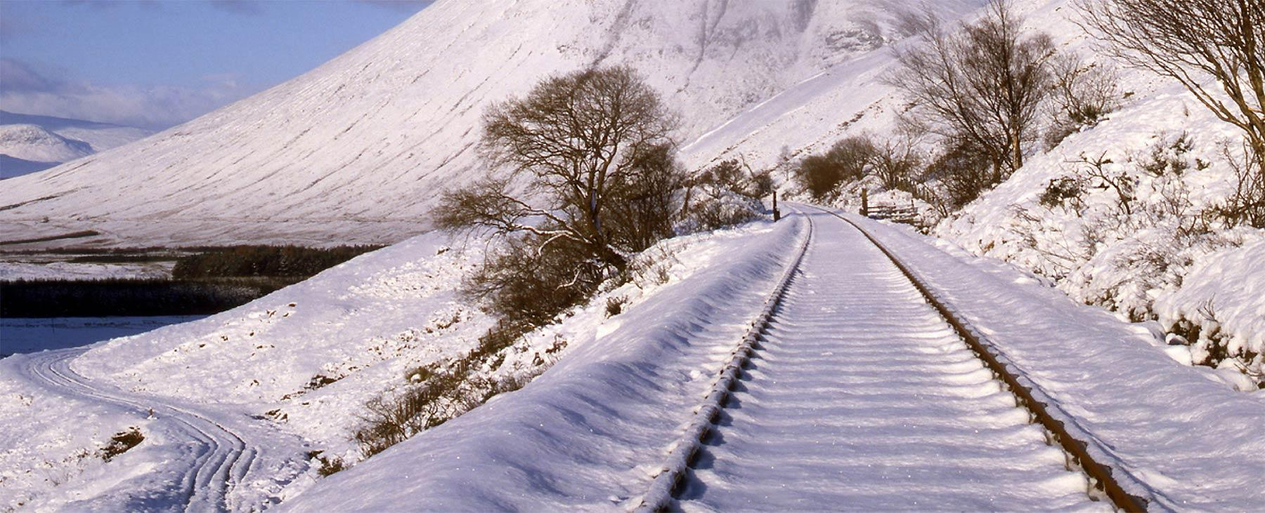 Railway line in the snow