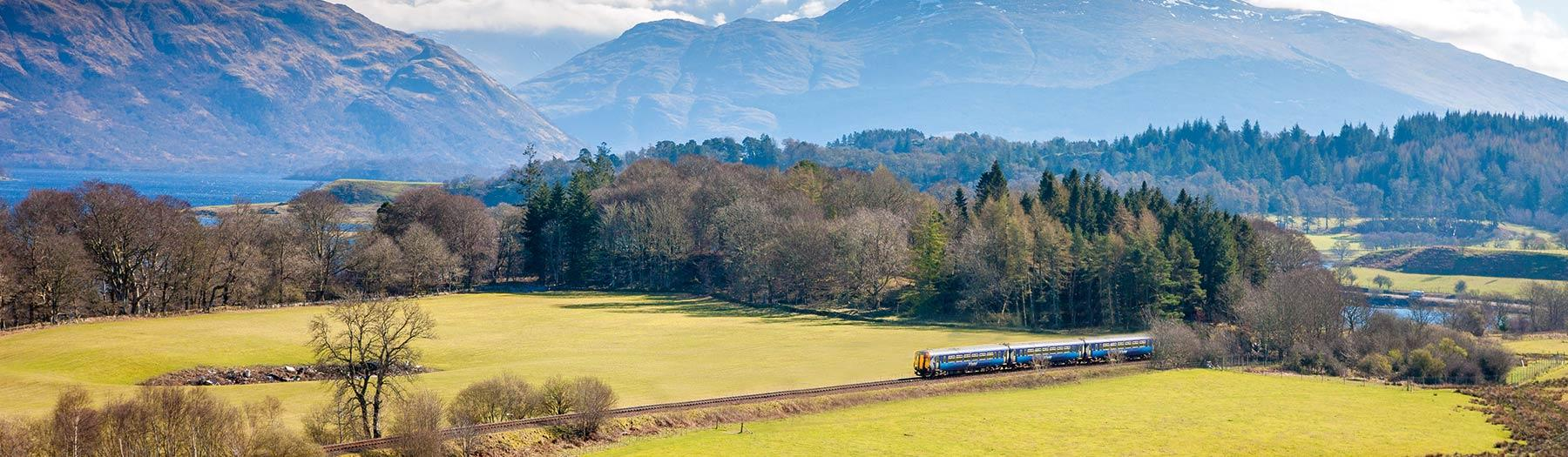 Sprinter train in front of Ben Cruachan