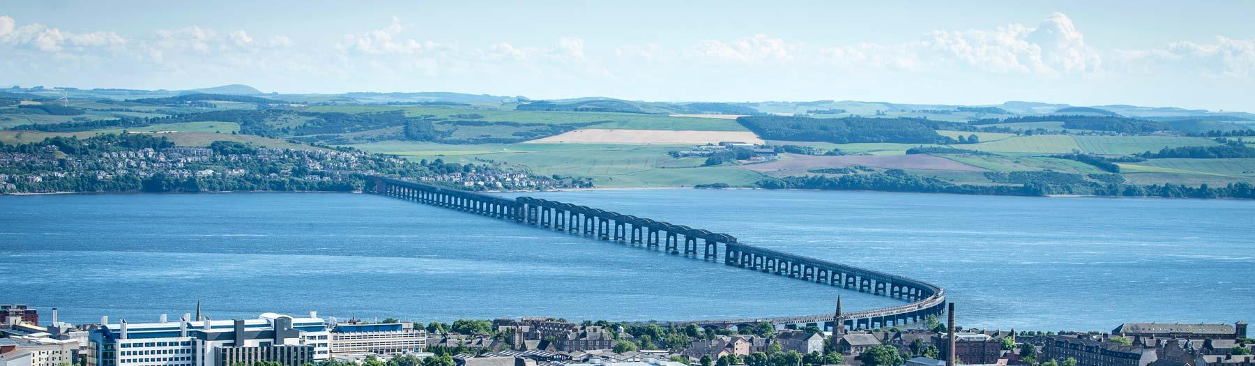Image: Tay Rail Bridge seen from The Law. Credit: Image used with permission from VisitScotland and Scottish Viewpoint.