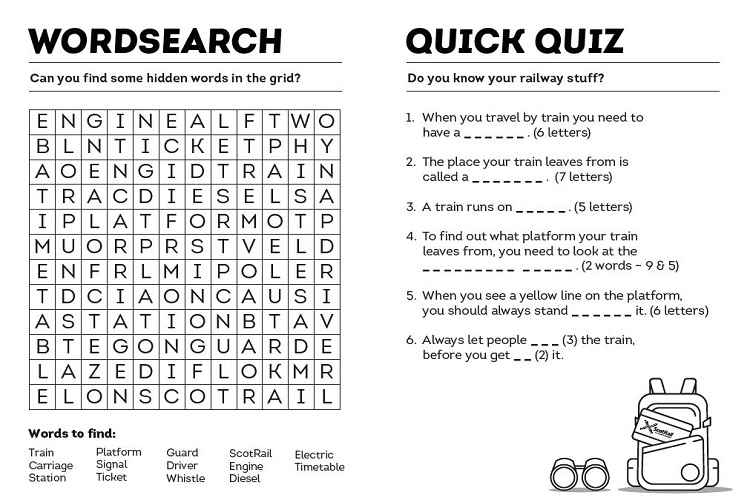 Wordsearch and quiz