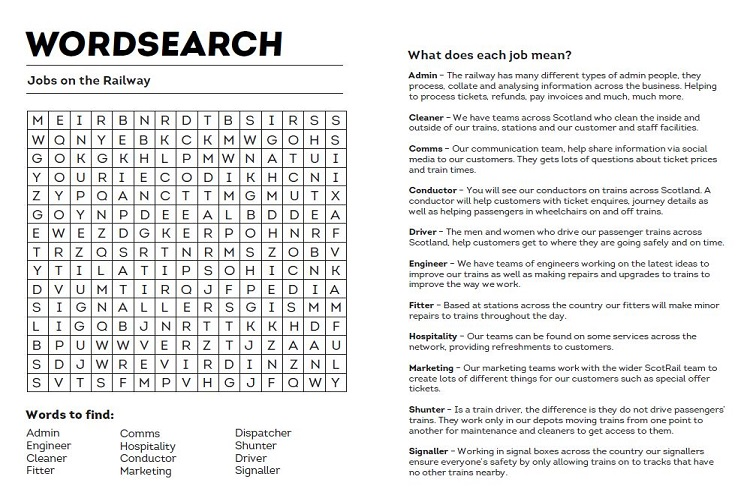 Jobs on the railway wordsearch