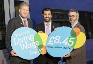 <p>Left to right: Phil Verster, Managing Director, ScotRail Alliance; Humza Yousaf MSP, Minister for Transport and the Islands; Peter Kelly, Director of the Poverty Alliance.</p>