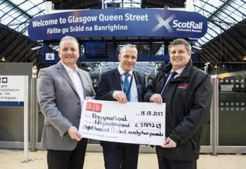 <p>Safety and sustainability director David Lister (centre) presents a cheque to Poppyscotland. Head of Fundraising, Gordon Michie (right), and Corporate Fundraiser, Stuart Lang, also pictured.</p>