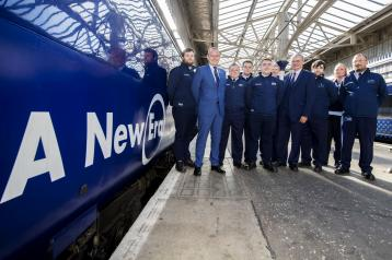 <p>Eight of the ten new trainee drivers to be based at Aberdeen station pictured with ScotRail Alliance Managing Director Alex Hynes and Transport Scotland Director of Rail Bill Reeve. </p>