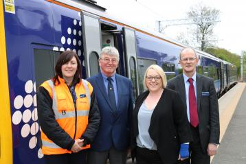 <p>Pictured at Alloa Station are Kathleen McGee, ScotRail Stations Team, Clackmannanshire Council Leader Ellen Forson, Cameron Little, Alloa Community Council and Jim Craig, regular Alloa station user and long-time ScotRail employee.</p>