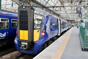 <p>Class 385 on platform at Glasgow Central</p>