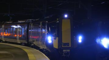 Class 385 night testing at Gourock