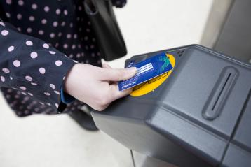 Smartcard in use at ticket gate