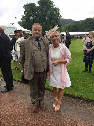 Neil Gaittens and Angela Thomson at the Palace of Holyrood House