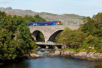 ScotRail train over bridge